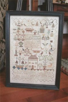HEARTSTRING SAMPLERY - With One Accord - Reproduction Antique Sampler.