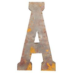 Reclaimed tin letter wall decor with a distressed finish. Product: Wall decorConstruction Material: Reclaimed tinColor: Distressed silver and goldDimensions: H Metal Wall Letters, Letter Wall Decor, Diy Letters, Metal Wall Decor, Metal Walls, Letter Crafts, Industrial Chic, Industrial Furniture, Bffs