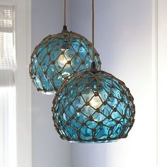 Island-inspired lighting beach-decor - Wondering how these would look over my kitchen island in another color?