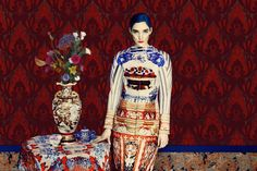 Photoshoot by Erik Madigan Heck inspired by interior paintings of the late 19th century French painters Pierre Bonnard and Edouard Vuillard. - Mary Katrantzou FW 2011 collection