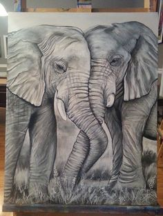 Black and white acrylic painting - Photography - Art Sketches Elephant Love, Elephant Art, Elephant Sketch, Elephant Tattoo Design, Elephant Tattoos, Pencil Art Drawings, Art Drawings Sketches, Animal Sketches, Animal Drawings