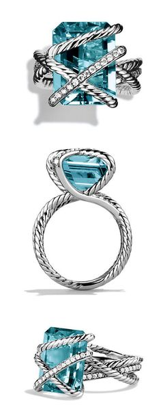 Blue Topaz Cable Wrap Ring //