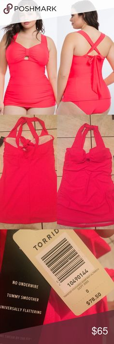 NWT TORRID TANKINI TOP SIZE 0 New TANKINI top ONLY. No defects. Tummy smoother. Nylon/spandex.  Size 0. Any questions ask below! torrid Swim Bikinis