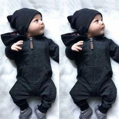 Kinder Baby Boy warme Säuglingsspielanzug Overall Bodysuit mit Kapuze Kleidung Pullover Outfit - mode bébé - Bebe Baby Outfits, Sweater Outfits, Kids Outfits, Baby Boy Outfits Newborn, New Born Outfits Boy, Cheap Outfits, Swag Outfits, Baby Boy Fashion, Fashion Kids