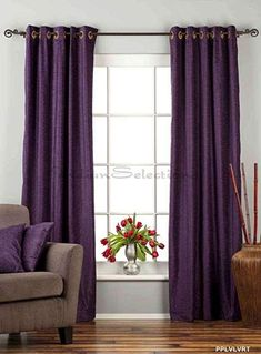 Lined-Purple Tab Top Velvet Curtain / Drape / Panel - x - Piece, Purple: Matching Lining Tab Top Curtains, Cafe Curtains, Hanging Curtains, Drapes Curtains, Brown Curtains, Curtain Panels, Custom Made Curtains, Curtains For Sale, Rugs In Living Room