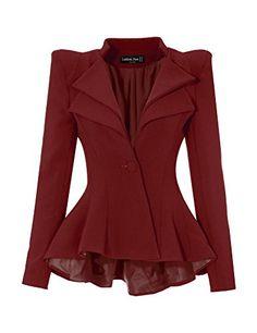 09731664b48c0 LookbookStore Women Burgundy Double Notch Lapel Sharp Sho... https   www