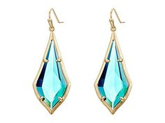 Kendra Scott Olivia Earrings - Brass And Clear Emerald at Zappos