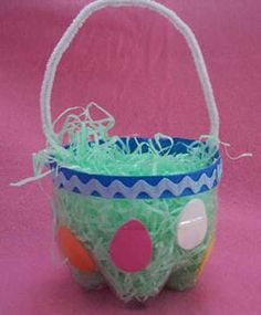 recycling plastic bottles for easter baskets