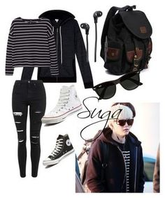 """""""Suga inspired airport outfit"""" by bts4ever ❤ liked on Polyvore featuring Splendid, MANGO, Topshop, Converse, Merkury Innovations, Ray-Ban, women's clothing, women, female and woman"""