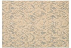 "Dawn Rug, Beige/Slate on OKL $319-669 v. $745- $1,530 retail for 2'3"" x 8' to 5'3"" x 7'5"")  Origin: China Construction: machine woven Made of: 70% wool/30% viscose Pile height: 1/2"" Color: beige/slate Professionally clean ""With its neutral palette and sophisticated motifs, this rug will be an elegant addition to any decor."""