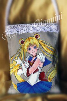 """Borsa """"Sailor Moon"""" dipinta a mano € 40,00 + SP - info 3203087887"""
