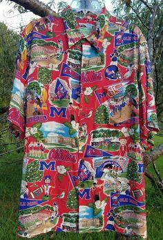 6368da66ae9 Ryen Spooner Sports Mens Hawaiian Shirt Football Ole Miss 100% Spun Rayon  Large  ReynSpooner