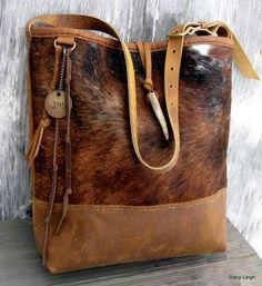 Poils sur peau de vache et Rocky Mountain cuir sac de seau de Stacy Leigh