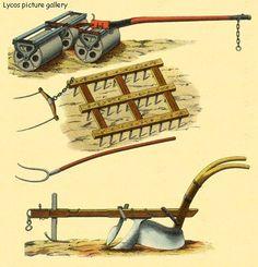 Early Settler Farming | drawings of farm equipment | tools