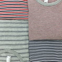 Classic cotton t-shirts in new stripes. Only Top left and Bottom Right! Pretty Outfits, Cool Outfits, Casual Outfits, Fasion, Fashion Outfits, Minimalist Wardrobe, Striped Tee, A Boutique, American Apparel