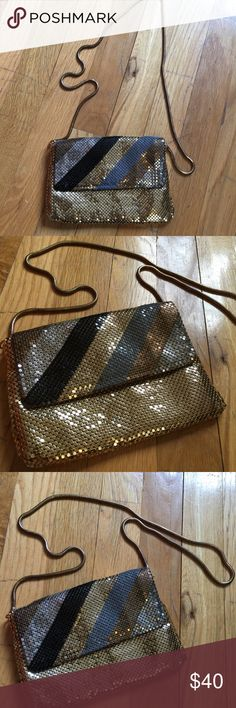 Vintage Metallic Mesh Mini Chain Shoulder Handbag Vintage Bag mesh and is gold silver and black- retro lined and in excellent vintage condition! Vintage Bags
