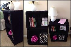 I did this! Plastic milk crates covered in fabric to use as a night stand/bookshelf in a girl's room. Very easy to do. I started with plain Elmer's glue to attach the fabric but found it very time consuming. Half way through the first crate I remembered I had a can of spray adhesive and I finished covering both crates in less than 20 minutes!  Wanting to add a different color to the inside  of it still-purple or pink maybe? Welcome any comments as this is my first DIY to post here.