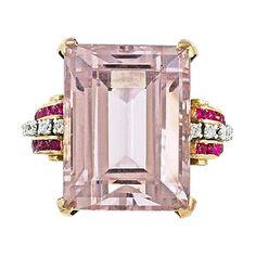48 carat Morganite ring set in rose gold