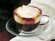 espresso, liquor spiked and topped with whipped cream (caffe' corretto con panna)