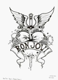 Bon Jovi Heart and Dagger Logo - Black and White by aviyas6