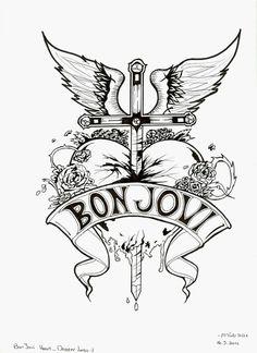 Bon Jovi Heart and Dagger Logo - Black and White by aviyas6