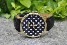 Black leather bracelet watch women's wrist watch by BraceletTribal, $5.99 Fashion handmade leather watch