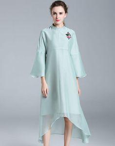 VIPme (VIPSHOP Global) - FMOJD Green Bell Sleeve Appliqued Asymmetrical Midi Dress - AdoreWe.com