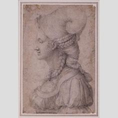 Elaborate hairstyle in this Portrait of a Young Woman, 15th century Italy. Artist: Francesco d'Ubertino Verdi (called Il Bachiacca) Nasher Museum of Art / Duke University