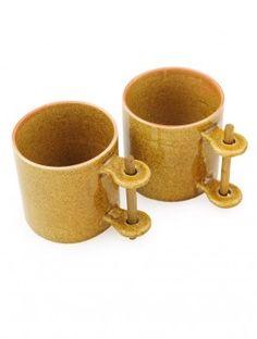 Brown Bamboo Handle Mug - Set of 2