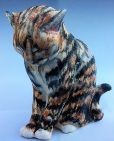 Cat figurine Pickles porcelain tabby cat by LivingCeramics on Etsy