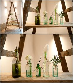 Simple, recycled bottles and jars can easily be transformed into beautiful decor