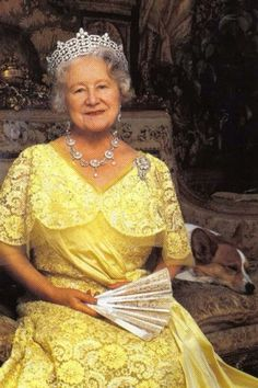 "HM Queen Elizabeth ,the Queen Mother. ""I hope that when I am 87, that there will be a pup in my Birthday Portrait"" 1900-2002)"