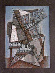 Music Cubism by jasric on DeviantArt Cubist Art, Jazz Art, Art World, Textiles, Deviantart, Musical Instruments, Yuri, Artist, Painting