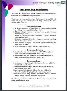 Drug calculations test
