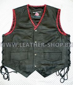 Black leather vest with red braid MC style MLVB732 all colors of leather, braid and lining available
