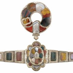 Antique Silver and Scottish Agate Bracelet and Brooch