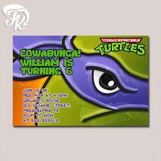 Teenage Mutant Ninja Turtle Don Eye Birthday Party Card Digital Invitation Kid…