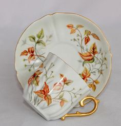 Antique Martial Redon MR France Hand Painted Tea Cup & Saucer