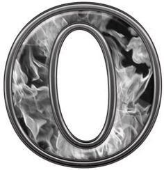 Reflective Letter O with Inferno Gray Flames