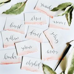 WE ♥ THIS! ----------------------------- Original Pin Caption: Hand Torn and Painted Place Cards