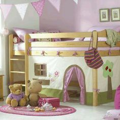 I love this idea! She already has the bed, I just need to make the house curtains underneath!