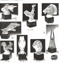 Weil Ceramics & Glass Inc. Catalog For Barolac Sculpture Glass - Czech Bohemian Glass That Is Often Found With Fake or Forged R. Lalique France Signatures: Page 7 Czech Glass, Bookends, Catalog, Bohemian, France, Ceramics, Sculpture, Antiques, Design