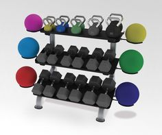 Paramount Fitness Line: 3-Tier Flat Tray Dumbbell Rack