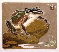 The Frog, 1936 ~ Colour linocut ~ Ethleen Palmer (1908-1965)