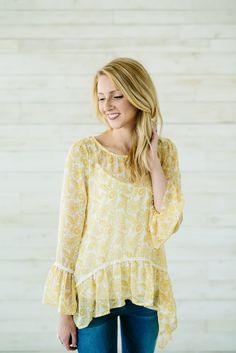 Lightweight Floral Blouse- Yellow