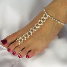 Barefoot Sandals Bridal Foot Jewelry Beach Wedding Swarovski Crystal Pearl Link Design 6 Custom Colors - Two Be Wed Jewelry