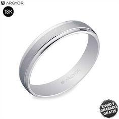Alianzas de boda oro blanco Argyor 5B40044 18K 4mm brillo/arena | Envío 24h