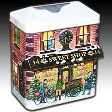 "Silver Crane Co. House Shaped Tin ""Sweet Shop 14"" Winter Scenes With Canopy"