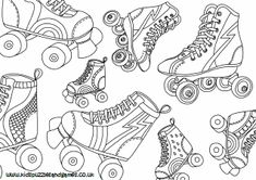 Skating Coloring Pages GetColoringPages.com_ 1 #12364 Coloring Book Pages, Coloring Pages For Kids, Coloring Sheets, Roller Derby Tattoo, Kids Roller Skates, Derby Skates, Puzzles For Kids, Roller Skating, Summer Colors