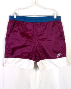 6c05300b3c2 vtg 80s 90s Nike Gray Tag Colorblock Burgandy Men's Swim Trunks Swoosh sz  M/L
